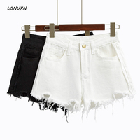 high quality spring new Female Korean denim Slim wild High waist Solid color Girls Wide leg irregular Burr shorts with pockets