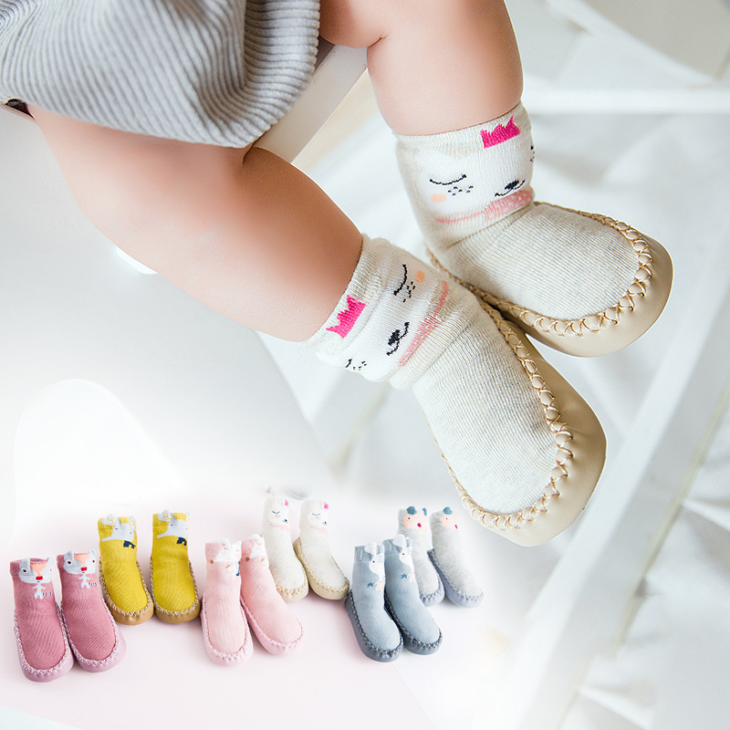 2018 Spring Anti-off Floor Socks Lovely Baby Toddler Shoes for Girls Boys First Walkers Cute Animals Newborn Shoes Free Shipping baby s first baby animals