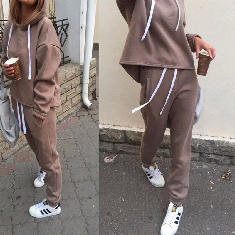 2019 New Women's Sports Suits Sexy Tracksuit 2 Piece Set Solid Hooded Yoga Clothes Fitness Suit Clothing Gym Running Sets