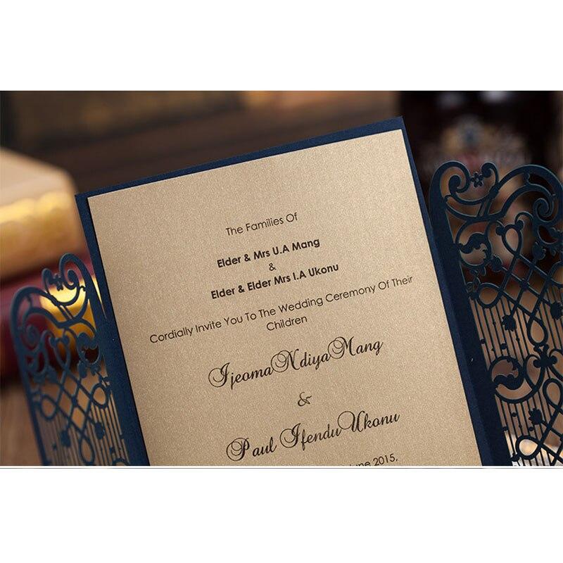 100pcs Blue Laser Cut Luxury Wedding Invitations Card Door Shaped