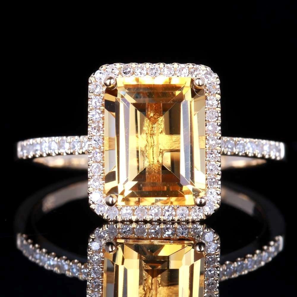 S925 Silver Topaz Diamond Engagement Ring Yellow Gem Bague Anillos Bizuteria For Women Sliver 925 Jewelry Women Diamond Ring