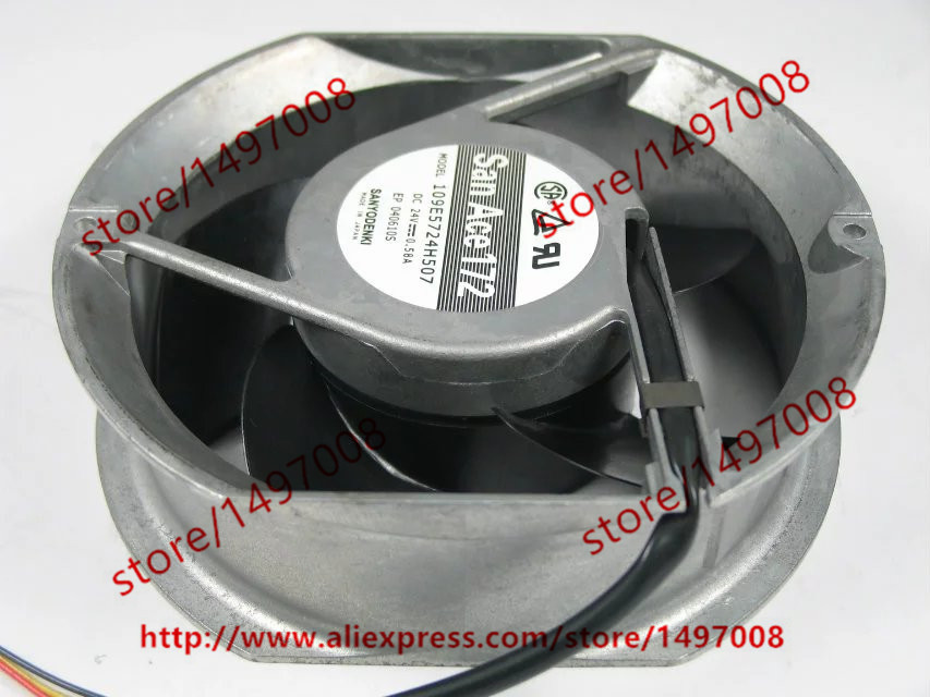Free Shipping For SANYO 109E5724H503 DC 24V 0.58A 3-wire 3-pin connector 130mm 172x150x51mm Server Round Cooling fan free shipping for delta afc0612db 9j10r dc 12v 0 45a 60x60x15mm 60mm 3 wire 3 pin connector server square fan