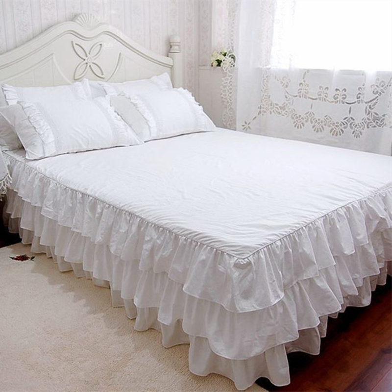 New Quality 3 cake layers bedspread qulity tribute silk cotton coverlets princess bedroom bed sheet twinkle bed skirt bedspreads