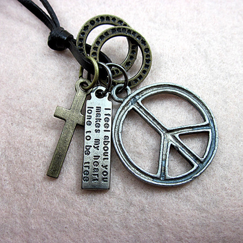 Free shipping unisex mens hip pop bronze peace sign pendant free shipping unisex mens hip pop bronze peace sign pendant adjustable genuine leather choker surfer chain audiocablefo