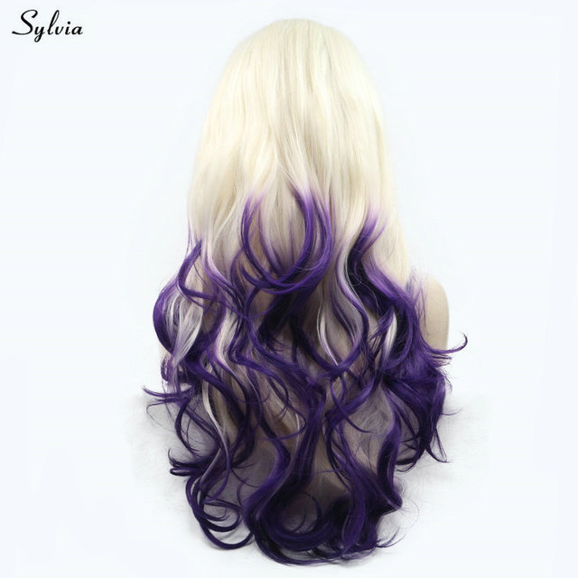 Sylvia Natural Wave Long Synthetic Hair Pastel Blonde To Dark Purple