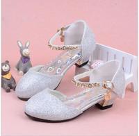 Enfants 2016 Children Princess Sandals Kids Girls Wedding Shoes High Heels Dress Shoes Party Shoes For
