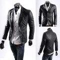 Envío de la nueva 2017 spring fashion business PU chaqueta de cuero los hombres más el tamaño l-5xl slim fit chaquetas de cuero y abrigos hombres/PY10