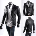Free shipping new 2017 spring fashion business PU leather blazer men plus size l-5xl slim fit leather jackets and coats men/PY10