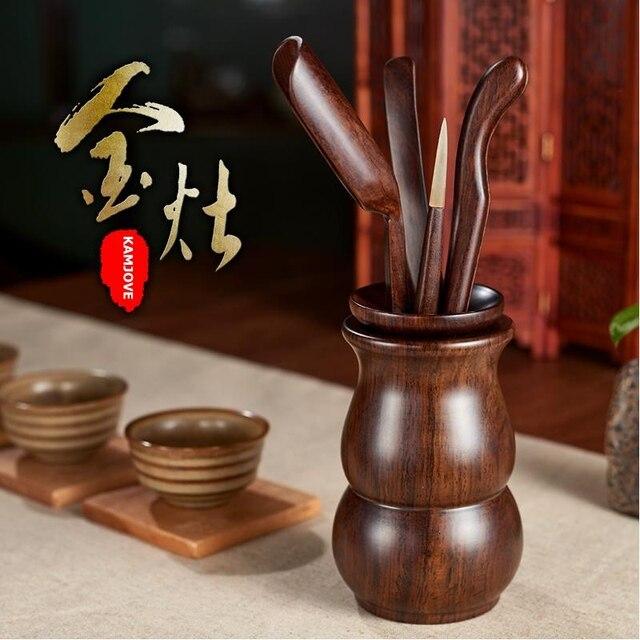 free shipping Kamjove calamander wood set tea folder cup clip kung fu tea set Ebony tea accessories