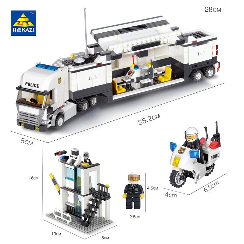 Kazi-Police-Command-Center-Surveillance-Truck-Blocks-511pcs-Bricks-City-Series-Building-Blocks-Sets-Education-Toys