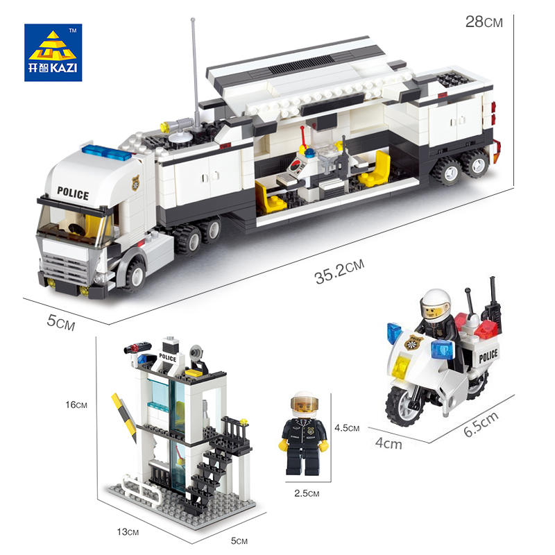Kazi-Police-Command-Center-Surveillance-Truck-Blocks-511pcs-Bricks-City-Series-Building-Blocks-Sets-Education-Toys