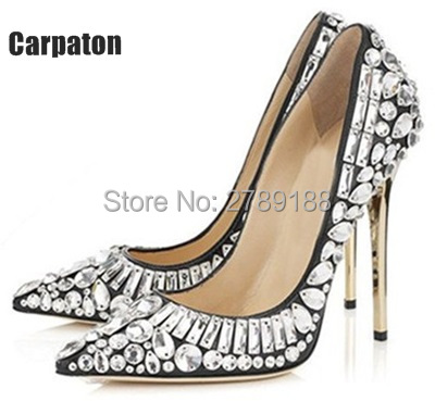 2017 Shinny Bling Rhinestone Pointed Toe Sexy Pumps Lady Wedding Party Dress High Heels Crystal Slip-on Sandals Women Shoes newest design stylish wedge sandals bling bling multicolor rhinestone decoration celebrities style concise peep toe party shoes