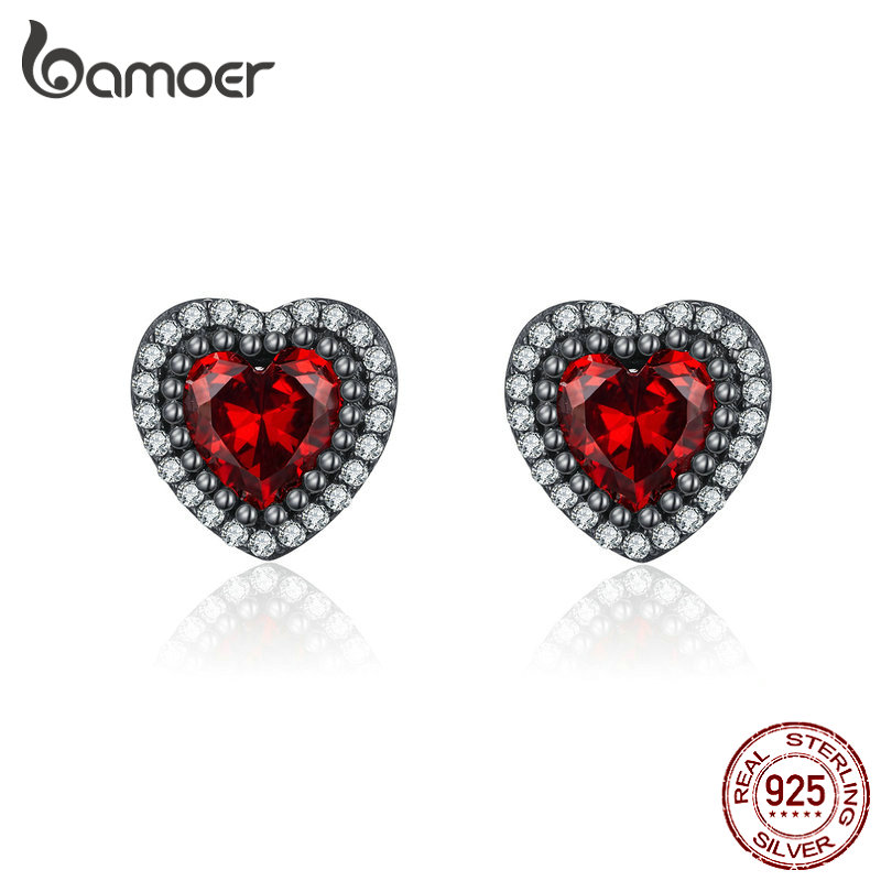 BAMOER 925 Love Heart Earrings Sterling Silver Stud Earrings Mini Red Heart Earrings for Women Girls /…