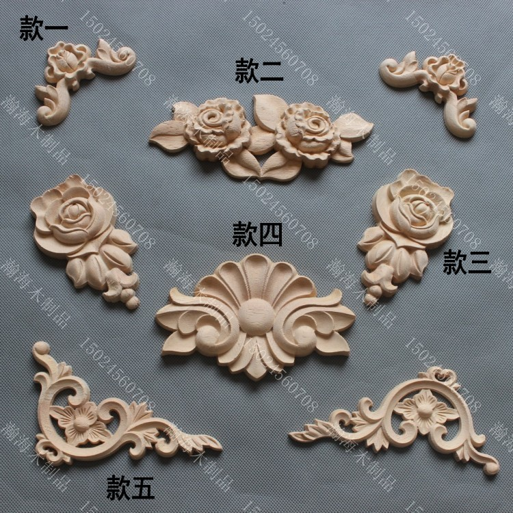 wooden appliques for furniture. Fashion Furniture Carved Solid Wood Decoration Applique Cabinet Door Motif Corner Flower Rose Flakes-in Figurines \u0026 Miniatures From Home Garden On Wooden Appliques For A