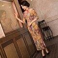 New Arrival Chinese Tradition Mandarin Collar Women's Velour Printing Long Cheong-sam Qipao S M L XL XXL TZM201504