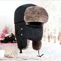 Бесплатная доставка Зимой На Открытом Воздухе Ветрозащитный шляпы для мужчин бомбардировщик Маска мужчины велоспорт hat россии защитить бомбардировщик cap hat