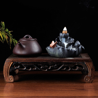 Ceramic butterfly back incense burner incense Moonlight creative sink sandalwood oil burner wood base