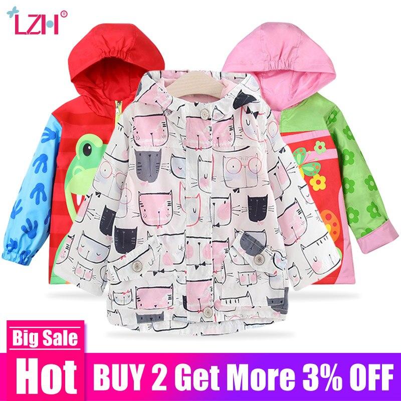 Lzh/Детские Плащ для девочек 2018 весенний цветок куртка для девочек для Обувь для девочек ветровка для Обувь для мальчиков детское верхнее пальто детская одежда