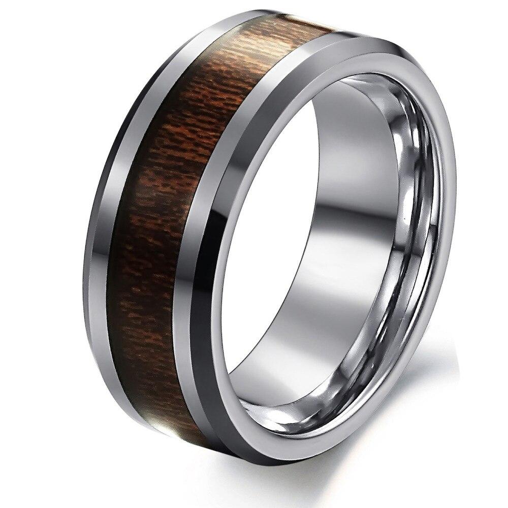 100% Real Tungsten Carbide Ring Men\'s Wedding Ring Retro Wood Grain ...
