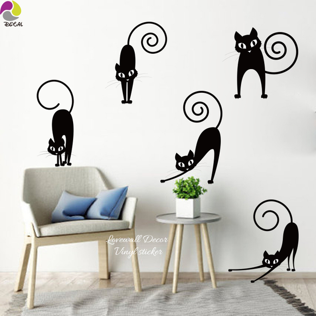 Lovely Cat Wall Sticker Set Of 5 Cartoon Cut Funny Abstract Pussy Mog Wall  Decal Kids Part 66
