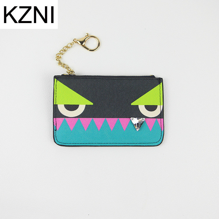 KZNI Rock Color Flower Monster Women's Genuine Leather Coin Purse Fashion Small Zipper Bag Mini Wallet Pocket Credit Card Case image