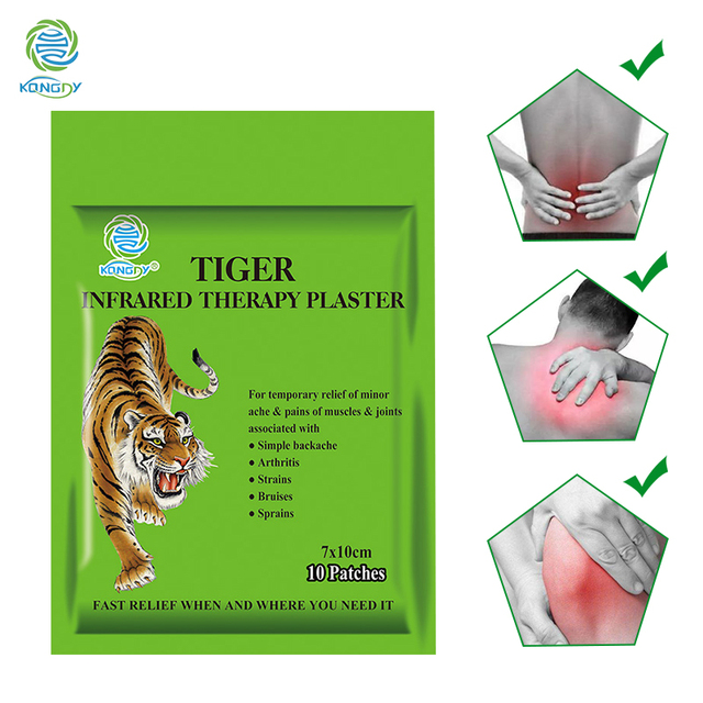 KONGDY Tiger Balm Plaster 7*10 cm Transdermal Neck Pain Patch 10 Pieces/Bag Herbal Pain Relieving Pad Zipper Bag Muscle Massager
