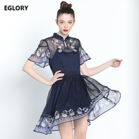 2018 Summer Fashion Brand Chinese Style Dress Women Vintage Qipao Buttons Floral Print Short Sleeve A