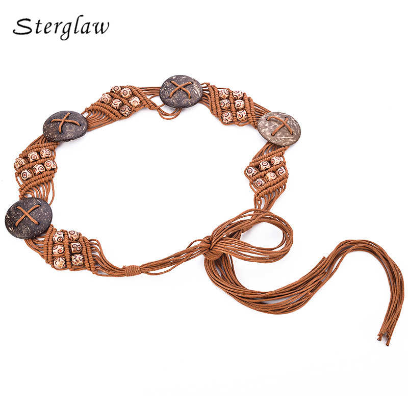 New national wind wax rope braided handmade belt bohemian style waist chain 2018 belts for women cinto feminino couro B064