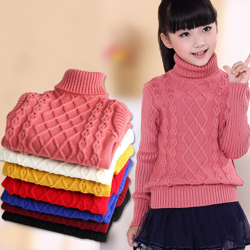 Children's Sweater 2020 Autumn/Winter Kids Knitted Turtleneck Pullover Sweater For Boys Girls 3 4 5 6 8 10 12 14 Years DWQ125