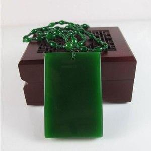 KYSZDL Подвеска из натурального камня зеленого камня с зеленым камнем Ожерелье Подвеска Рождественская открытка Женский Свитер Цепочка