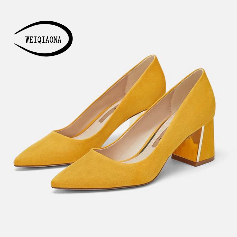 WEIQIAONA Vintage Fashion Shoes Women Brand Design Pionted Toe Pumps Women High Heels Ladies Working Shoes Dress Shoes