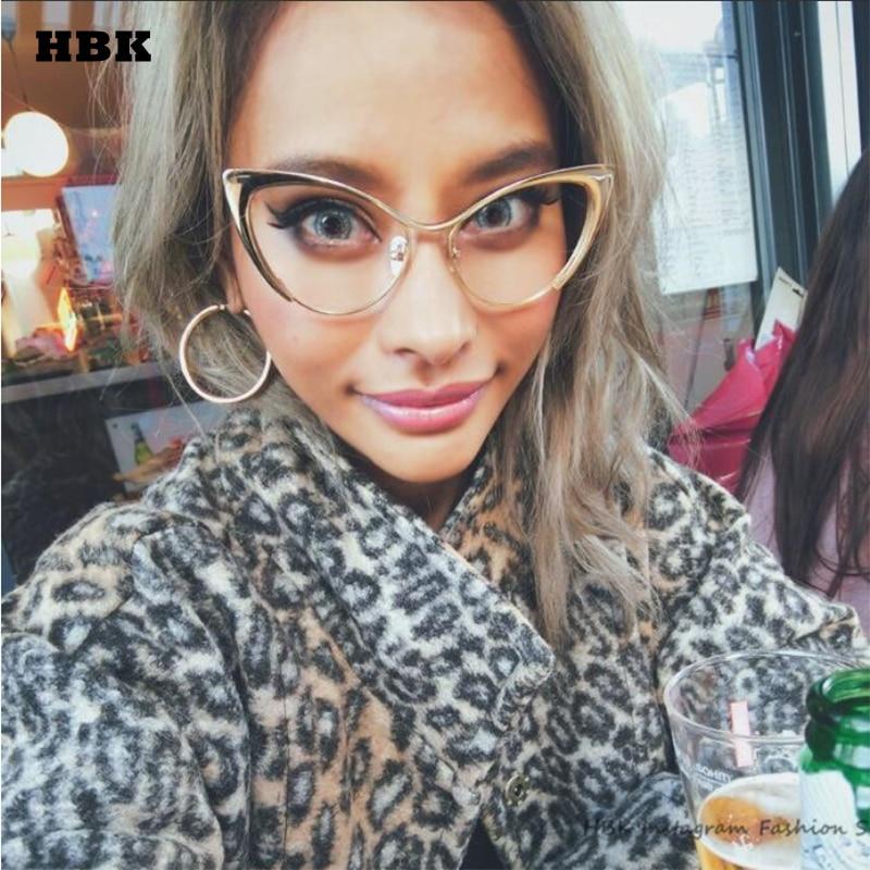 HBK 2018 New Sexy Luxury Cat Eye Women Sunglasses Clear UV400 Goggle Gradient Alloy Ladies Frame Sun Glasses Brand Oculos De Sol