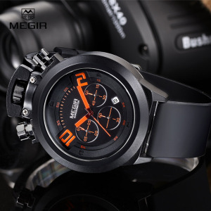 Image 3 - Megir fashion hot mens quartz watches analog chornograph brand wristwatch man silicone band waterproof hour 2004 free shipping