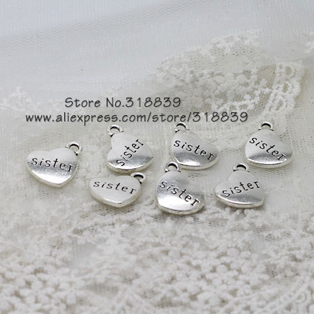 metal small heart letters sisters charms for jewelry making diy handmade vintage alphabet pendant charms 14