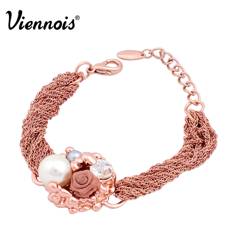 Viennois Charm-Bracelet Fashion Jewelry Rose-Gold-Color Women Brand-New for Flower Simulated