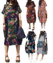 цены 2019 Summer Women's Maxi Dress Short Sleeve Vintage Cotton Linen Ethnic Long Dresses Good Quality