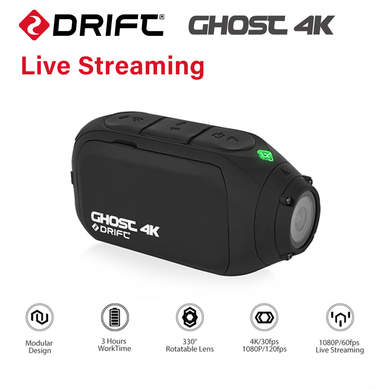 Drift Ghost 4K Action Sports Camera Motorcycle Bicycle Bike Mount Live Streaming Helmet Cam with WiFi