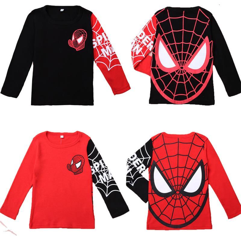 Hot Sale Kids Boys Baby Girls Spiderman Hero T Shirt Long