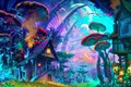 drawing nature psychedelic colorful house mushroom planet plants mountain fantasy art DIY frame posters print Fabric Wall Decor