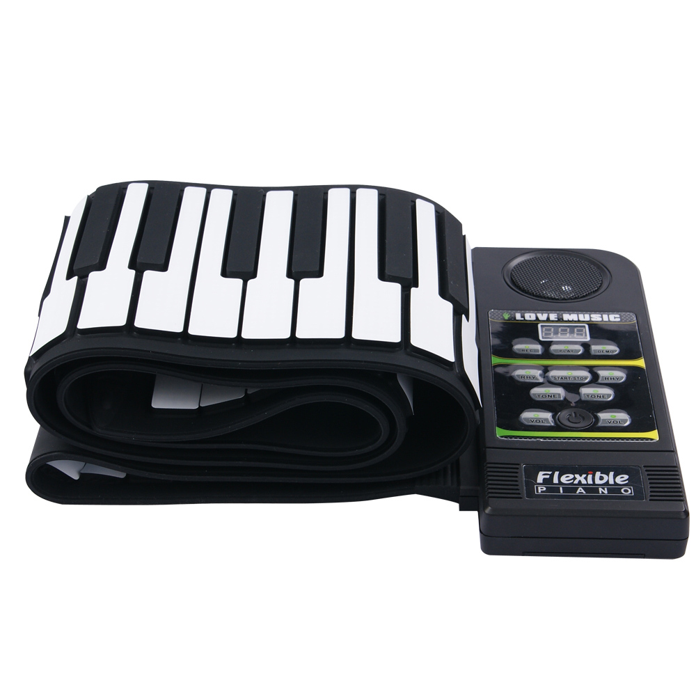 88 Key Electronic Piano Keyboard Silicon Flexible Roll Up Piano with Loud Speaker Wish US Plug