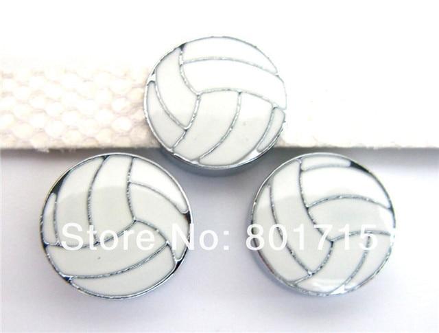 Hallazgos De Joyería de aleación de zinc de voleibol diámetro interno. Dijes de deslizamiento de 8mm 10 piezas se ajustan a llavero de pulsera de 8mm