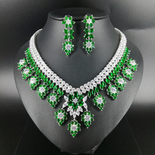 2019 new fashion luxury retro romantic green flowers zircon necklace earring set,wedding bride dinner party formal jewelry set