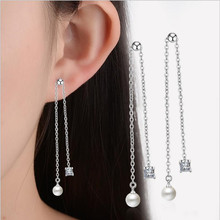 Everoyal Charm Silver 925 Girls Tassel Earring Jewelry Fashion Crystal Square Pearl Drop Earrings For Women Accessories Hot Sale