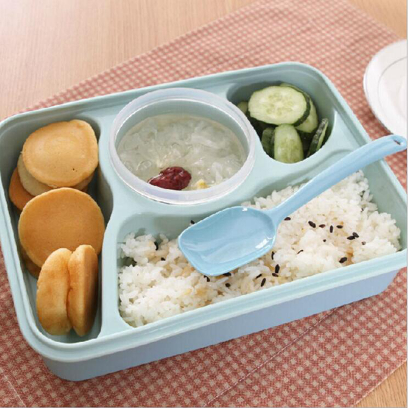 Hot Sale 4 1 Food Container Storage Box Single Children Lunch Box With Spoon Portable Microwave