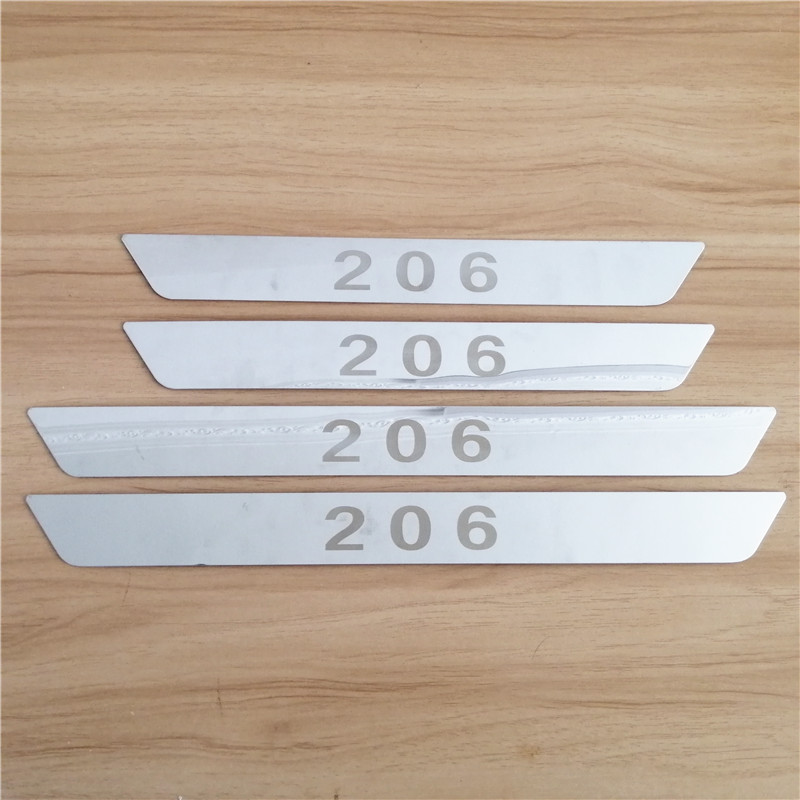Heerlijk Roestvrijstalen Instaplijsten Scuff Plaat Auto Accessoires Voor Peugeot 206 Auto-styling Drempel Artikel Goede Kwaliteit Geprezen Puur Wit En Doorschijnend