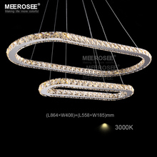 Фотография LED Oval Pendant Lamps Mirror Finish Stainless Steel Suspension Lights Silver LED Crystal Lighting Fixtures for Hotel Restaurant