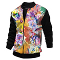 New Trend Colorful Printed Black Jacket Men/Boy Casual Slim Fit Zipper Sweatshirt Jackets For Fall Bombers Blouson Veste Homme