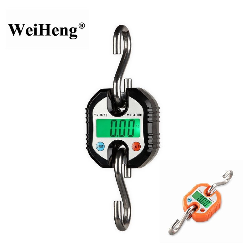 WeiHeng 150kg 50g Mini Heavy Duty Electronic Digital Stainless Steel Hook Scale Hanging Crane Scale LCD Loop Weight Balance