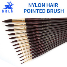 Bgln 1Piece Nylon Hair Professional Watercolor Paint Brush Pointed Watercolor Oil Acrylic Painting Brush Art Supplies 730