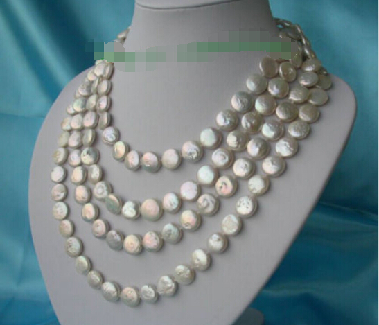 >>>> Amazing long 80 12mm white round coin freshwater cultured pearls necklace n157